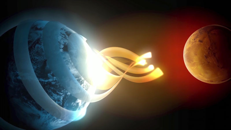 An illustration depicts migration from Earth to Mars.