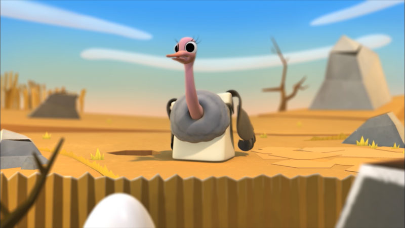 A bird with long reddish neck, a small and wide bill, and small wings, on a barren land. The bird has big eyes with thick eyelashes.