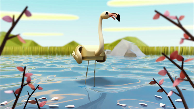 Cartoon of a flamingo in the water.