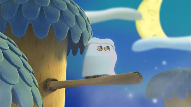 Cartoon of an owl on a branch.
