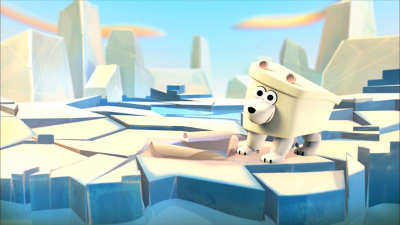 Cartoon of a polar bear on ice.