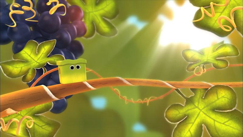 Cartoon of a caterpillar on a grape vine.