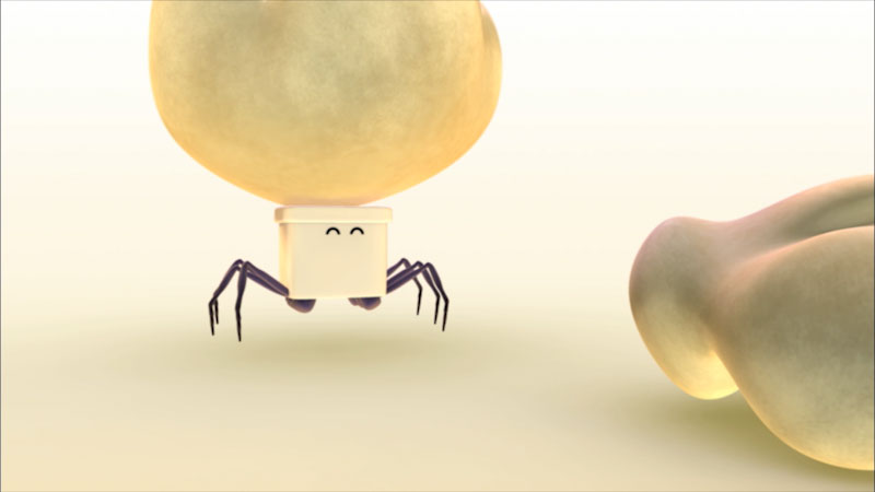 Cartoon of an ant carrying a large piece of food.