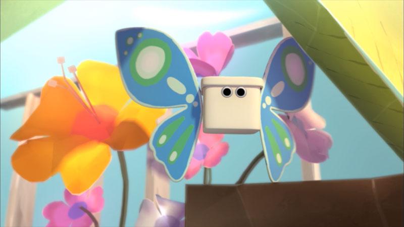 Cartoon of a butterfly flying in flowers.