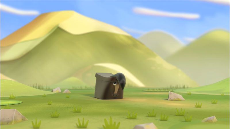 Cartoon of a horse in a field.