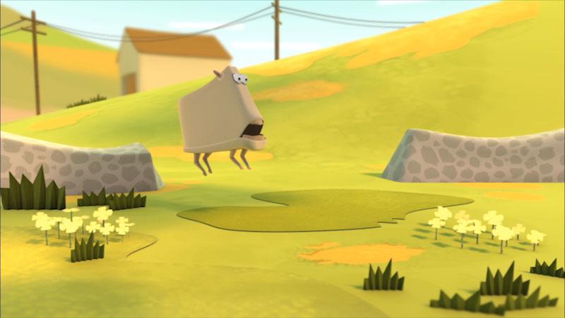 Cartoon of a sheep in a field.