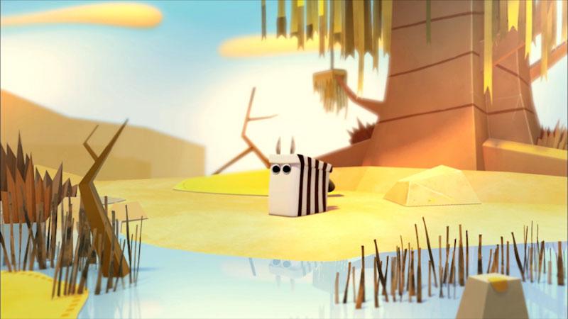 Cartoon of a zebra in natural habitat.