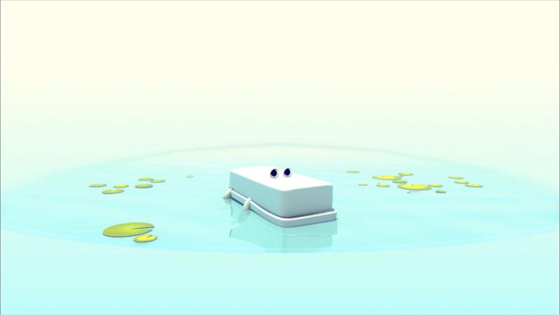 Cartoon of a crocodile swimming in the water.