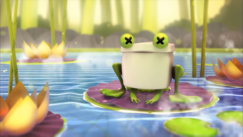 Cartoon of a frog on a lily pad.
