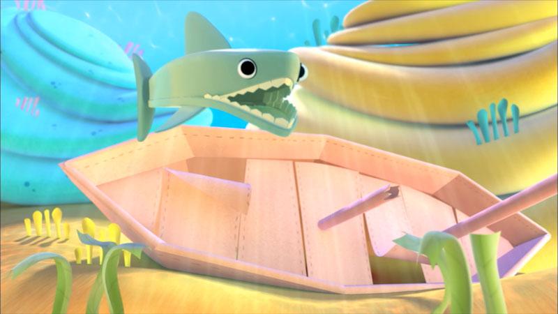 Cartoon of a shark swimming next to an underwater shipwreck.