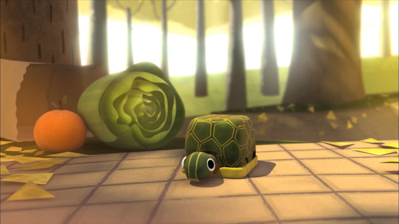 Cartoon of a turtle next to a head of lettuce and a piece of fruit.