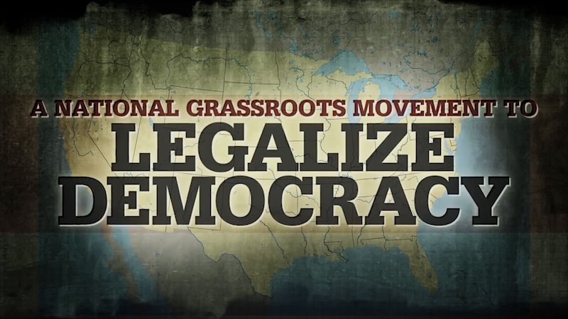 A political map of U S. Caption: A national grassroots movement to legalize democracy.