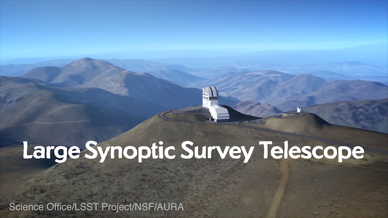 A telescope built on the top of a mountain. Caption: Large synoptic survey telescope. Science office slash L S S T project slash N S F slash A U R A.