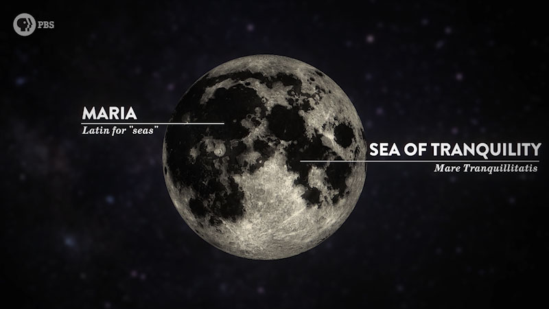 A view of Moon in the dark sky. Caption: Maria, Latin for seas, and Sea of Tranquility, Mare Tranquillitatis.