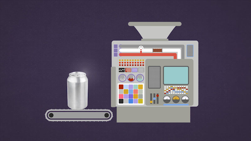An illustration depicts the recycling machine, and a recycled product.