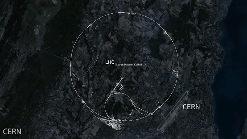 The extent of the Large Hardon Collider is demarcated in a satellite view. Caption: C E R N.