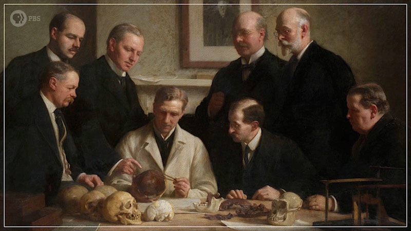 A painting depicts scientists comparing Piltdown Man's remains to other species. Charles Dawson and Sir Arthur Smith Woodward are seen standing together.