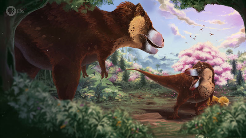 An illustration depicts a pair of dinosaurs fighting each other.