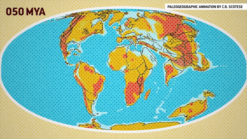 An illustration depicts the earth of 50 million years ago, with a supercontinent Laurasia. Caption, Paleographic animation by C R Scotese.