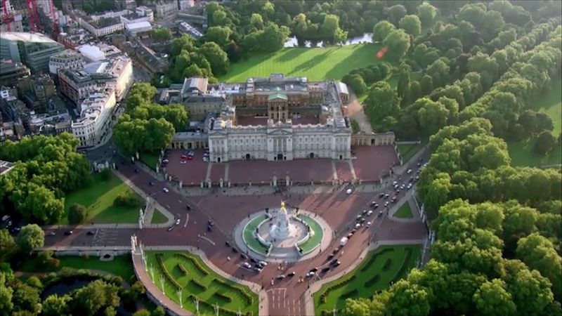 An aerial view of Buckingham palace.