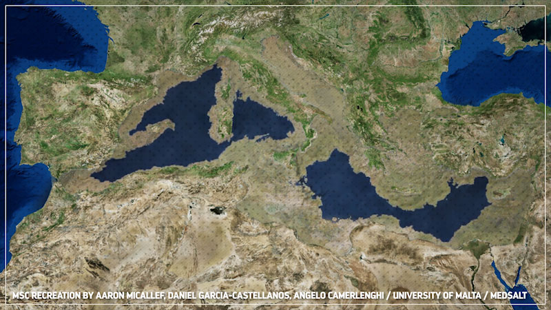 A geographical representation of Mediterranean sea, which is enclosed by land, on the north by Europe, on the south by Africa, and on the east by Asia. Caption: M S C recreation by Aaron Micallef, Daniel Garcia-Castellanos, Angelo Camerlenghi, University of Malta, Medsalt.