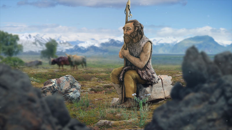 An illustration depicts an old shepherd, wearing clothes made from animal leather, sitting on a rock.