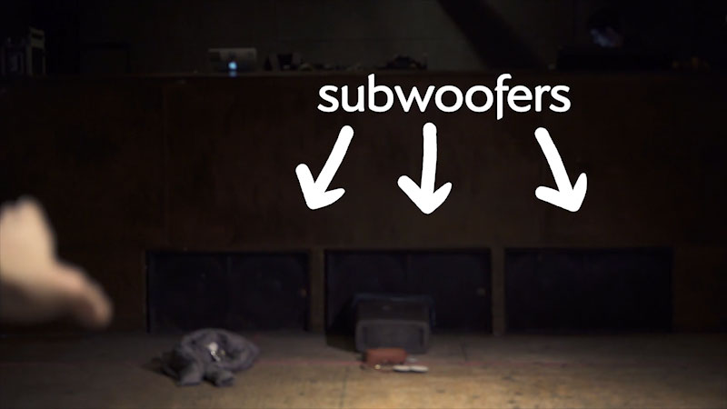 Three large speakers are present beneath a stage. Caption: Subwoofers