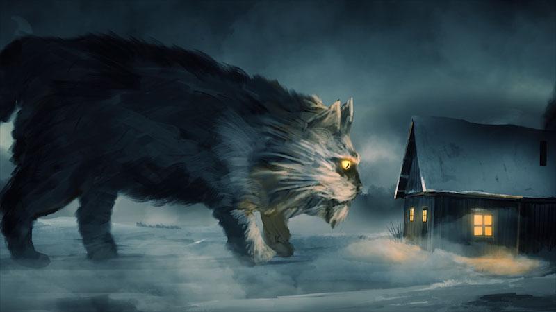 Still image from: Monstrum: The Wicked Feline Murder Floof, a Yule Cat Story