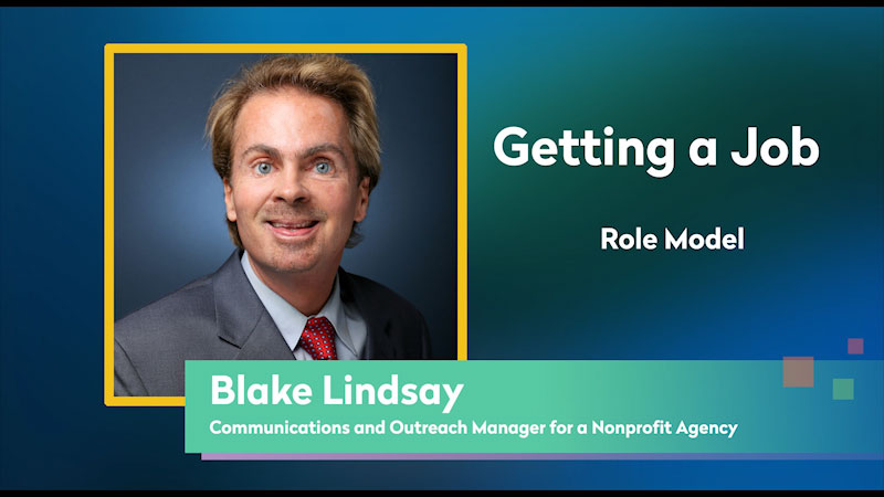 Still image from: Getting a Job! for Students Who Are Blind and Visually Impaired: Role Model: Blake Lindsay
