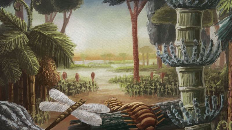 A painting of a flooded forest, and insects are seen crawling on the tree surface.