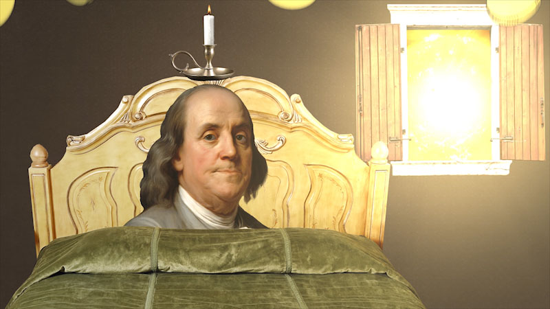 A cartoon shows Benjamin Franklin sleeping on a bed. Sunlight pours into the room through an open window.