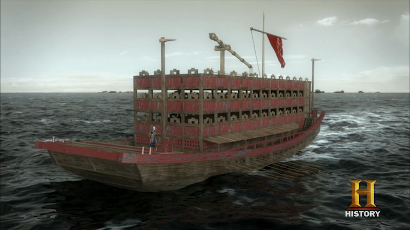 Still image from: Ancient Discoveries: Ancient Chinese Superships