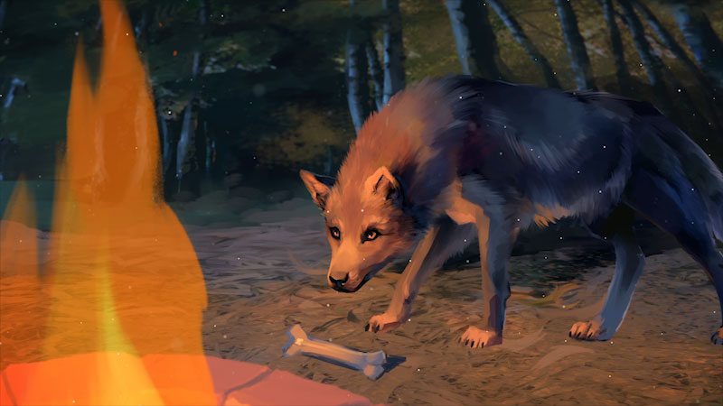 A bone is placed before a wolf, who staring vigilantly at fire.