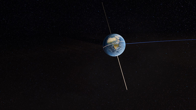 Earth spinning on its orbit, the tilt of earth's central axis along the vertical axis is highlighted.