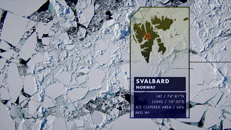 An ice covered region. Caption: Svalbard Norway. Latitude, 74 degrees to 81 degrees North. Longitude, 10 degrees to 35 degrees East. Average W I.