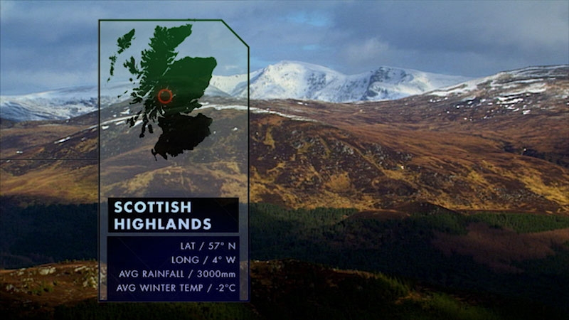 An area on the map of Scotland is highlighted, and a mountain range with snow covered peaks are depicted in the background. Caption: Scottish Highlands. Latitude, 57 degrees North. Longitude, 4 degrees West. Average rainfall, 3000 millimeters. Temperature range, minus 2 degrees Celsius.