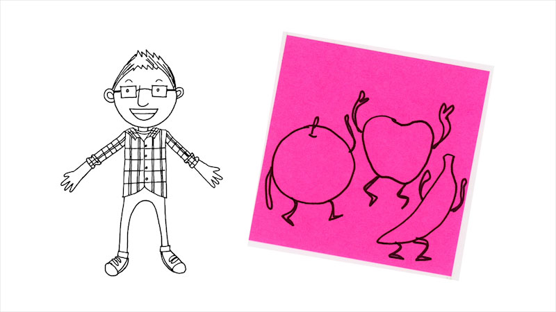 Still image from: Drawing With Mr. J: Fruit Dance Party