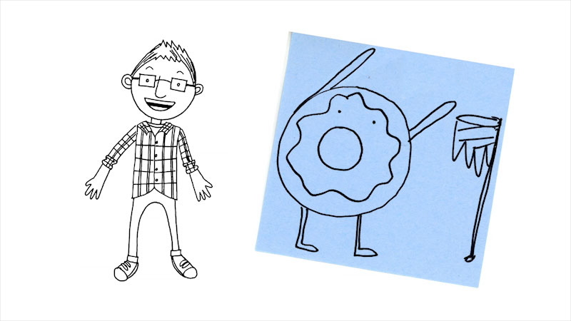 Still image from: Drawing With Mr. J: A Donut Playing a Sport