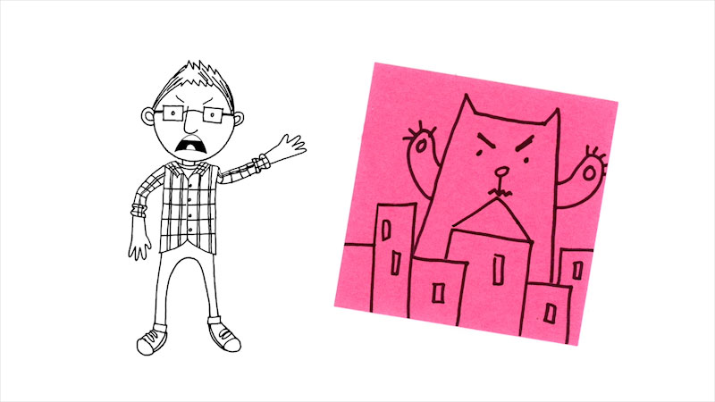 Still image from: Drawing With Mr. J: A Cat Attacking a City