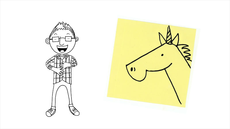 Still image from: Drawing With Mr. J: A Unicorn With Personality