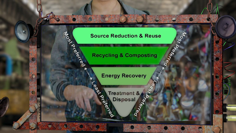 Still image from: Into the Outdoors: Following the Waste Management Hierarchy