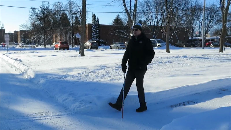 Still image from: Orientation and Mobility in the Winter