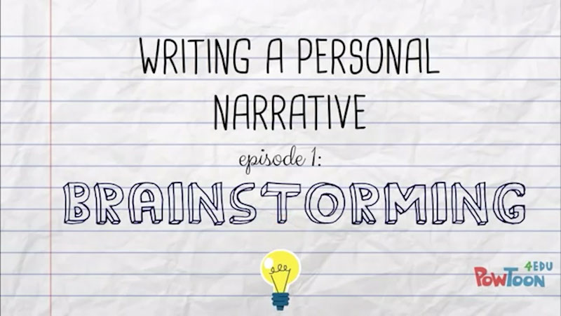 Still image from: Writing a Personal Narrative: Brainstorming (Episode 1)
