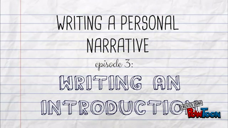Still image from: Writing a Personal Narrative: Writing an Introduction (Episode 3)