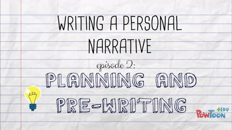 Still image from: Writing a Personal Narrative: Planning and Pre-Writing (Episode 2)