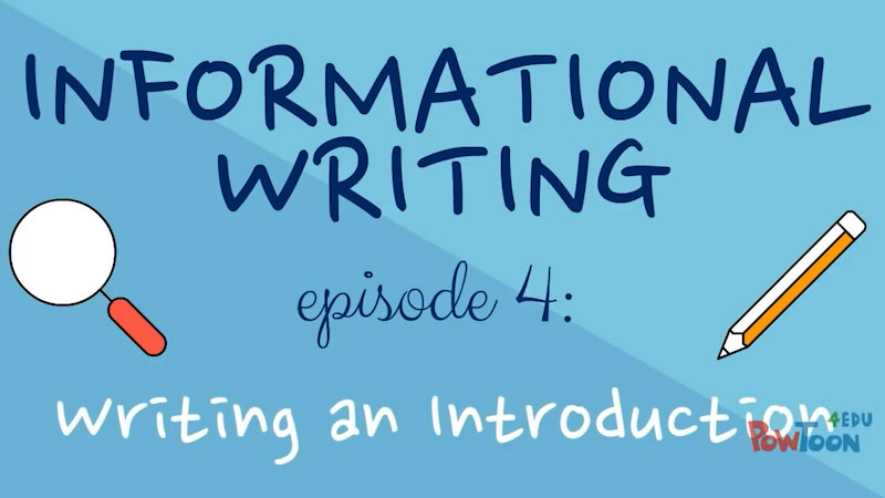 Still image from: Informational Writing for Kids: Writing an Introduction (Episode 4)