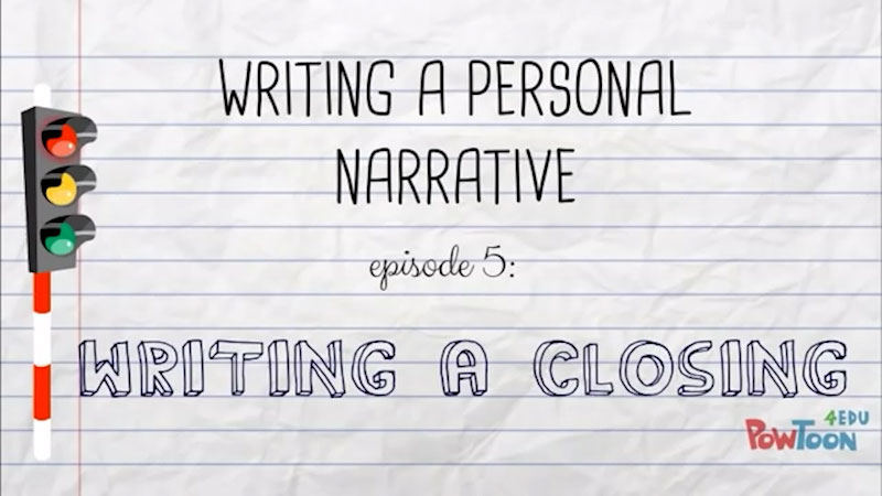 Still image from: Writing a Personal Narrative: Writing a Closing (Episode 5)