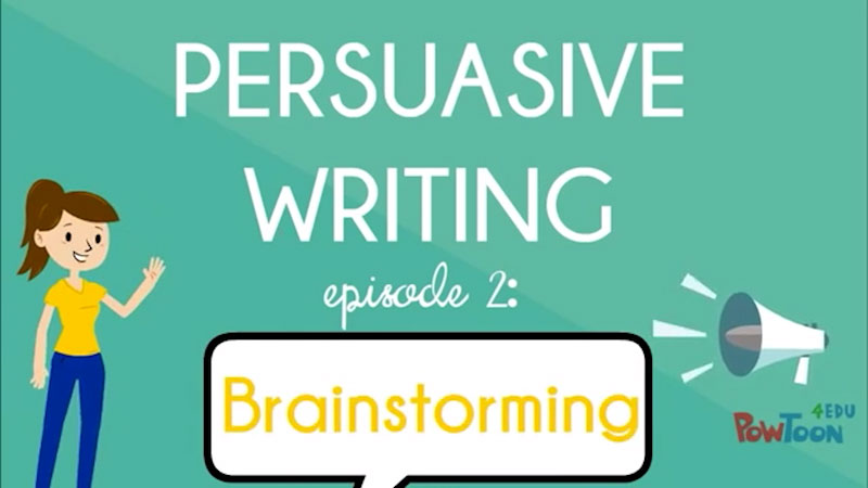 Still image from: Persuasive Writing: Brainstorming (Episode 2)