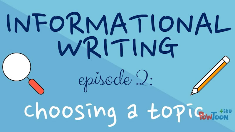 Still image from: Informational Writing for Kids: Choosing a Topic (Episode 2)