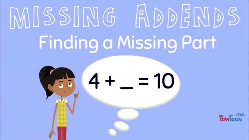 Still image from: Missing Addends: Finding a Missing Part